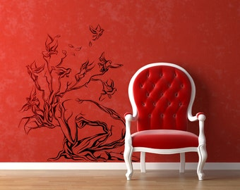Tree Woman with Birds Wall Decal Sticker | Magical Minds Collection | Inspiring designs for home decor | Women Bird Silhouette