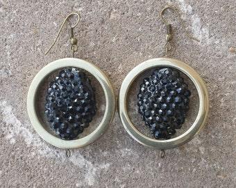 Hematite & Black Cluster Earrings