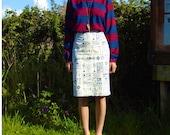 French Dressmaker Print Knee Length Pencil Skirt Handmade By thetinkertailorUK