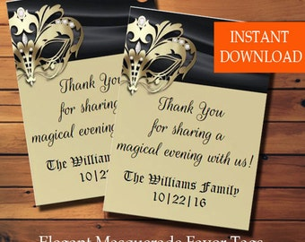 Elegant Masquerade Favor Tags, Party Favor Gift Tags, Masquerade Tags, Masquerade Party Tags, Edit Yourself PDF