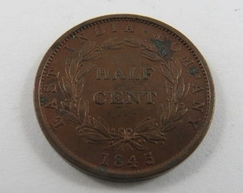 Straits Settlements 1845 Half Cent Coin.Rare Coin