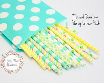 Tropical Rainbow Party Straws, 25 Pack, Paper Straws, Teal Straws, Yellow Straws, Rainbow Straws, Tropical Decor, Wedding Cake Topper