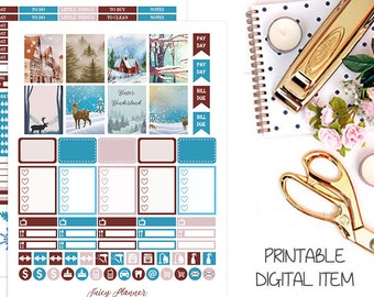 Printable Planner Stickers, Winter Stickers, January Stickers, January Weekly Kit, Monthly Planner Stickers, Erin Condren Stickers