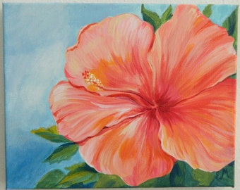 Coral Hibiscus Flower Painting, Flower Painting Gift, Hibiscus Painting, Coral hibiscus flower, small modern flower, girlfriend gift