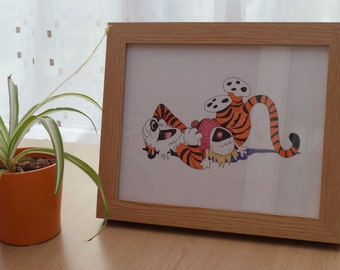 Original Colour Pencil and Ink Drawing of Calvin & Hobbes Laughing (includes wooden frame with glass)