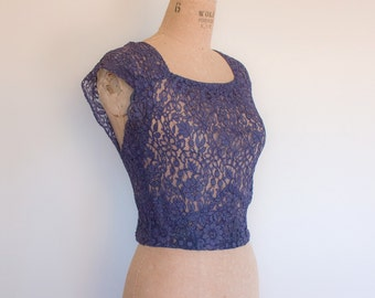 Vintage 1930s Deep Purple Lace Blouse
