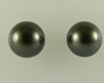 Tahitian Black 12.4 mm and 12.6mm Pearl Earrings 14k White Gold