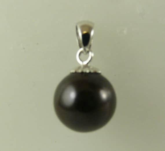 Freshwater Black 10mm Pearl Pendant 14k White Gold
