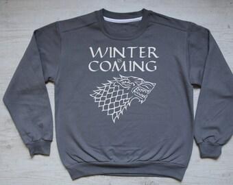Winter is coming stark sweater slouchy sweatshirt vintage womens mens sweatshirt winter house stark sigil Game of Thrones sweater dark gray