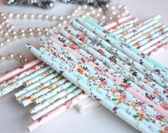 Floral Paper Straws, Set of 25 Vintage Peony Flower Paper Straws, Pink Straws, Blue Straws, Rose Straws