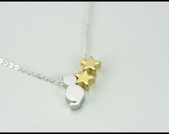 Cat necklace, cat and stars necklace, star necklace, gold and silver cat and star necklace, personnalized, gift, mother, friend, sisters