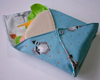 Eco- Friendly Raccoon- Fox patterned Reusable Sandwich Wrap