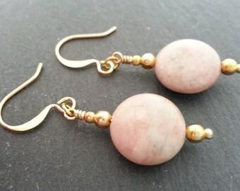 Rhodonite Earrings, Gold Plated Rhodonite Coin Earrings. Rhodonite Dangly Earrings,