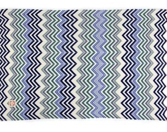 Blanket Zig-Zag multicolored green and blue - Mantuki
