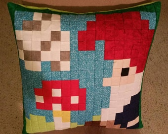 Toadstool Gnome Pixel Pillow Cover