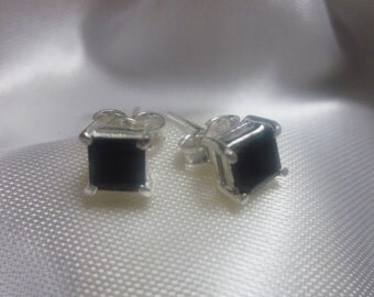 Square Black Onyx, Silver Stud Earrings