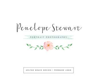 Premade Logo - Watercolor Logo - Logo Design - Photography Logo - Business Logo - Floral Logo - Flower Logo - Handwritten Logo