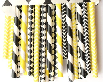 Bumble bee yellow and black paper straws-set of 25- bumblebee party straws, bumble bee party, bumblebee baby shower, yellow and black straws