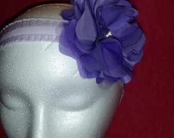 Elastic headband purple flower
