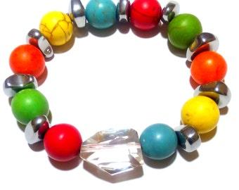 Bracelet Howlite turquoise quartz, Nature Jewelry, Gemstone Bracelet, Colorful Jewelry