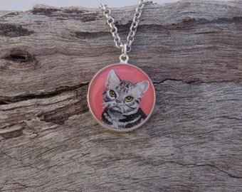 Hand Painted Grey Tabby Cat Pendant