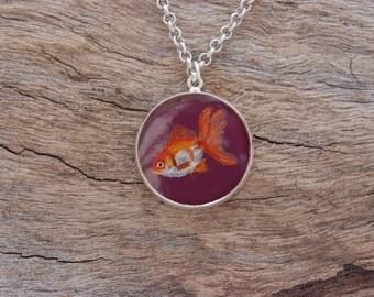 Hand Painted Goldfish Pendant