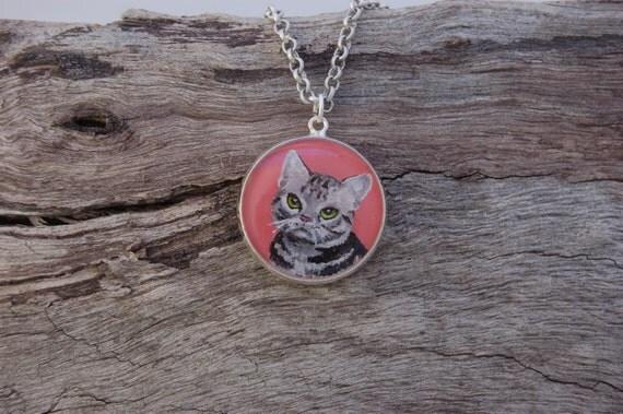 Hand Painted Grey Tabby Cat Pendant