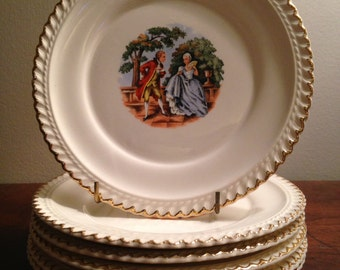 Barker Pottery Co. China Dessert Plates - Set of 6 / 22 Karat Gold Bread Plates / Aristocrats on Ivory Background with Gold Edges