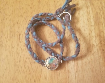 Triple Wrap Charcoal and Light Blue with Pendant