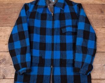 "Mens Vintage 1950's Swanndri Blue Pure Wool Overshirt Lightning Zip M 42"" R3199"
