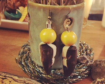Earrings - Tribal Horn, Wood and Suede - Brown, Yellow