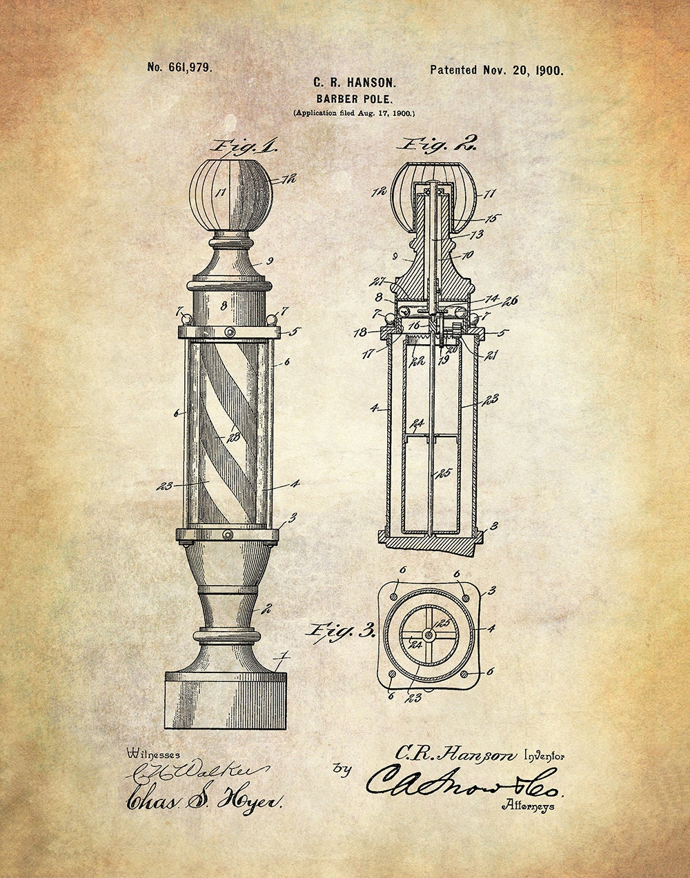 Barber Pole Patent Art Print Vintage Barber's Shop