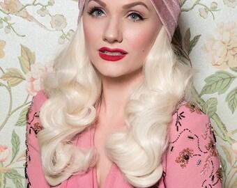 ZIEGFELD PINK TURBAN - Vintage Style Light Blush Pink Velvet Turban with Rhinestone Stars - 20s 30s 40s Flapper Style