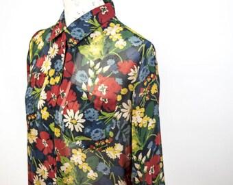 Vintage 1980s Floral Blouse, Sheer Blouse, Floral Blouse, Vintage Blouse
