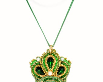 Gold Pendant Emerald Crown Soutache Crown Queen