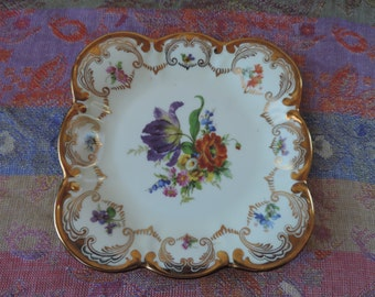 Tirschenreuth Floral Plate with Gold Edging Vintabe