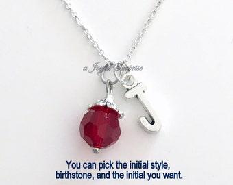 Garnet Birthstone January Necklace Birthday Present Dark Red Stone Gem Birthday Gift Jewelry Crystal Initial Christmas Bridesmaid Bridal