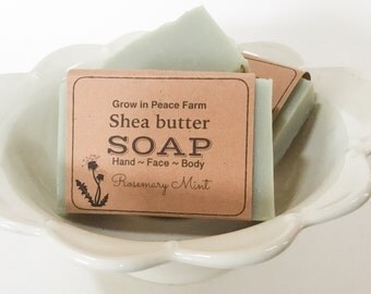 Invigorating Rosemary & Mint - Shea Butter Soap, homemade soap, handmade soap, vegan soap