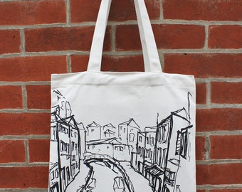Venice Canvas Tote Bag, Italy Canvas Tote Bag, Art Tote Bag, Canvas Tote, City Street View Canvas Tote Bag, Canvas Tote Bag with Pocket