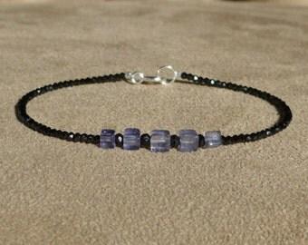 Black Spinel Bracelet, Iolite Bracelet, Gemstone Bracelet, Black Bracelet, Black Anklet, Skinny Bracelet,  Modern Bracelet, geometric