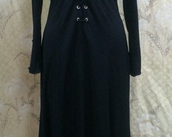1970s Black Maxi Dress with Rhinestone Grommets/FREE US SHIPPING