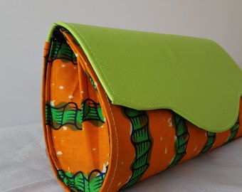 Orange and green clutch