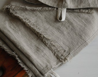 Rustic linen kitchen towels set 2, stonewashed linen dish towels, rustic linen tea towels, pure linen soft hand towels, eco linen towels