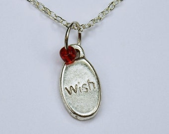 Necklace wish desire with red Pearl on silver chain jewelry lucky charm