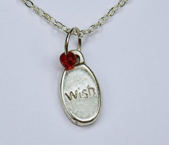 Necklace Wish with red pearl on silver links necklace jewelry Lucky charm