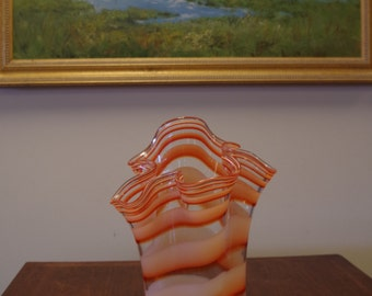 Fabulous Hand Blown Mid Century Orange Striped Art Glass Free Form Vase