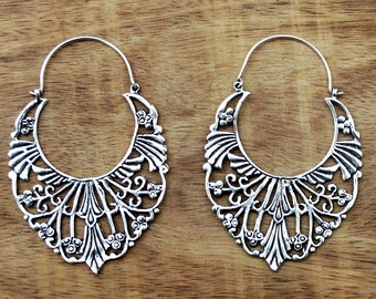 Gypsy Hoop Earrings, Silver Hoop Earrings, Boho Earrings, Large Tribal Earrings, Filigree Earrings, Silver Hoops, Gypsy Jewelry