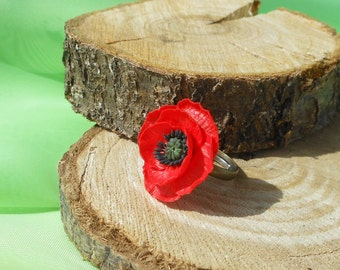 Ring Poppy flower Handmade of polymer clay / Floral Jewelry / Ring Red Poppy  / Ring red flower gift for her /  Ring adjustable size