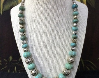 Silver And Turquoise Necklace.