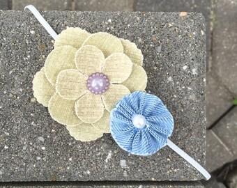 Denim Flower Headband with Buttons